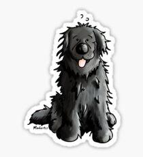 Black Newfoundland Dog Cartoon Sticker