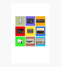 Pixel Retro Gaming Machines Squares Photographic Print