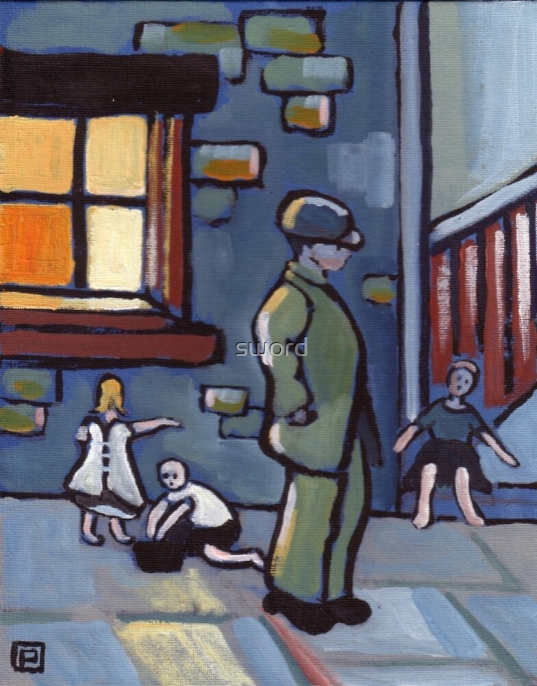 Street urchins (from my original acrylic painting) by sword