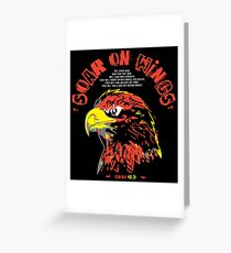 Soar On Wings X Eagle v2 (Isaiah 40:31) color on black Greeting Card