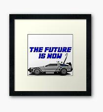 back to the future delorean car movie film retro vintage Framed Print