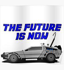 back to the future delorean car movie film retro vintage Poster