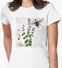 Shabby Chic Thyme herb Bumble Bee illustration art T-Shirt