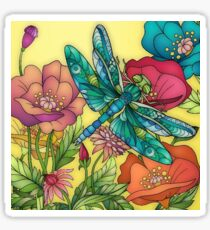Flowers and Dragonfly Sticker