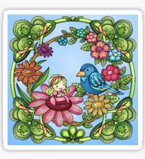 Little Fairy and Bird in Flowers Sticker
