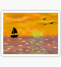Sailing boat at sunset Sticker