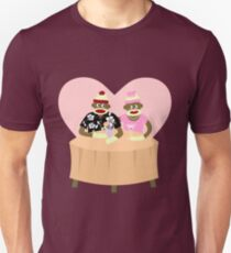 Sock Monkey Romance Unisex T-Shirt