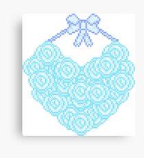 Blue Rose Heart Canvas Print
