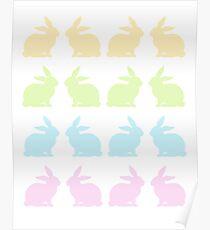 Schöne bunte Osterhasen Poster