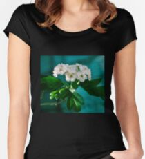 White Flower Blossoms Women's Fitted Scoop T-Shirt