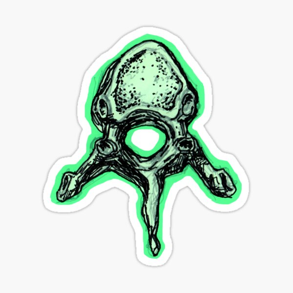 Bright Green Human Vertebrae Sticker