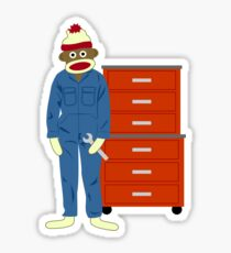 Sock Monkey Mechanic Sticker