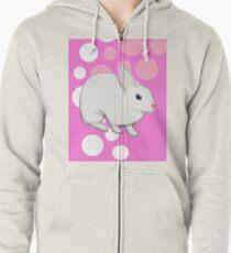Osterhasen-Kaninchen-Rosa Hoodie mit Reißverschluss