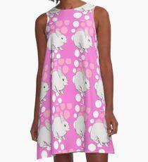 Osterhasen-Kaninchen-Rosa A-Linien Kleid