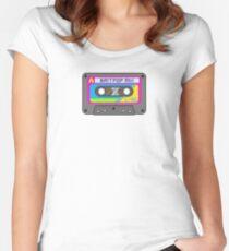 Pixel Art Britpop Cassette Tape Women's Fitted Scoop T-Shirt