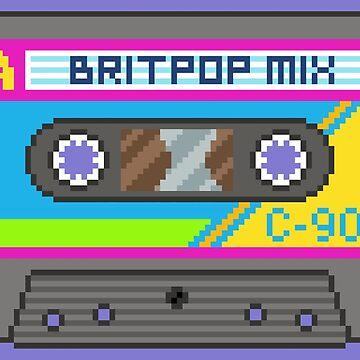 Pixel Art Britpop Cassette Tape by FussFreeMcGee