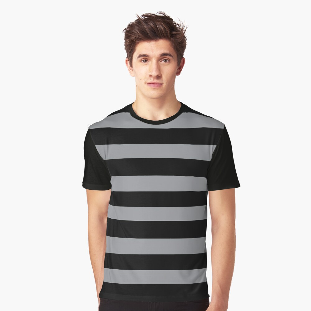 Black and Grey horizontal stripes - Classic striped pattern by Cecca Designs Graphic T-Shirt Front