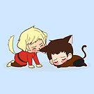 Puppy!Arthur and Kitten! Merlin by lilybells36