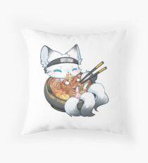 Arctic Ramen Fox Throw Pillow