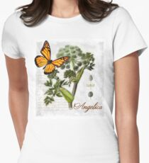 Cottage style Angelica herb Butterfly Botanical illustration art T-Shirt