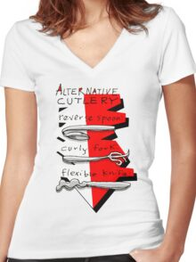 Alternative Cutlery Women's Fitted V-Neck T-Shirt