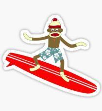 Sock Monkey Surfer Sticker