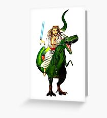 Jesus Riding a Dinosaur with a Lightsaber Greeting Card