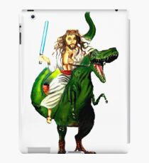 Jesus Riding a Dinosaur with a Lightsaber iPad Case/Skin
