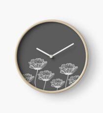 poppy graphic spring design nature illustration flower grey Clock