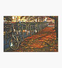 Autumn night in Berlin Watercolor Photographic Print