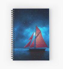 Starry Night Sailboat Spiral Notebook