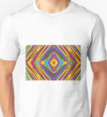 psychedelic geometric graffiti square pattern abstract in blue purple pink yellow green T-Shirt