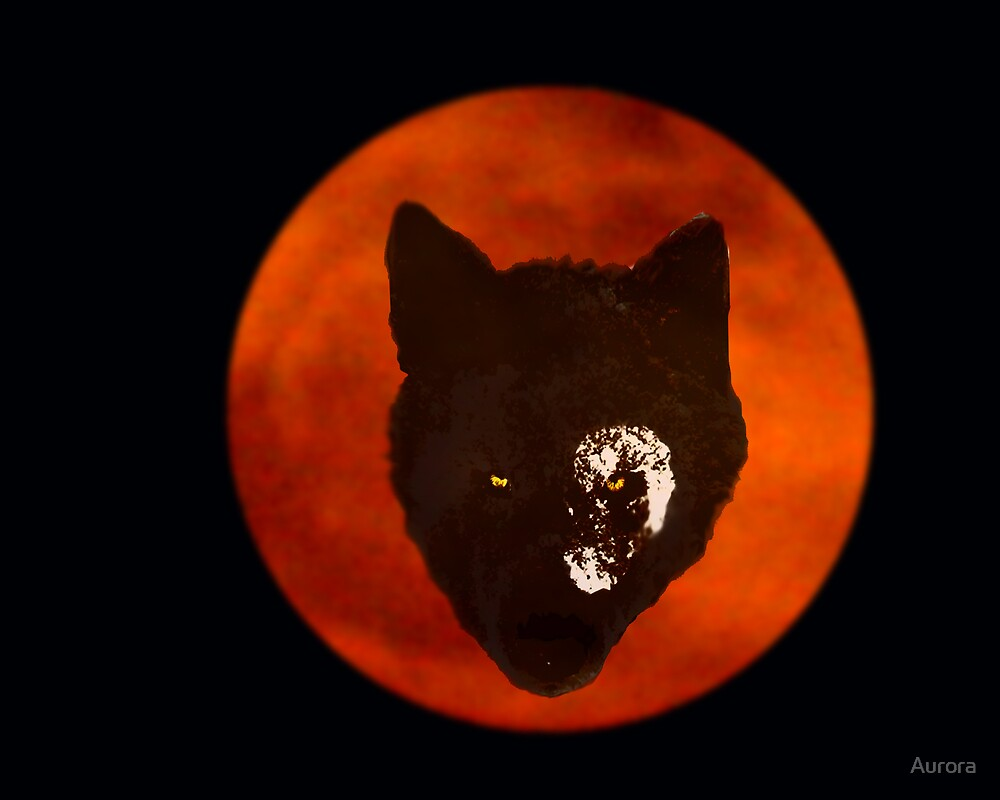 Wolf on the moon by Aurora