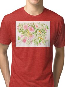 Flowers in Watercolor Painting Tri-blend T-Shirt