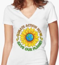 People's Climate Change March on Washington Justice 2017 Women's Fitted V-Neck T-Shirt
