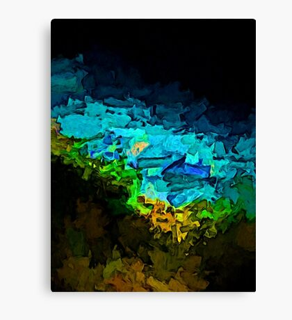 Green Fire and Blue Sea Canvas Print
