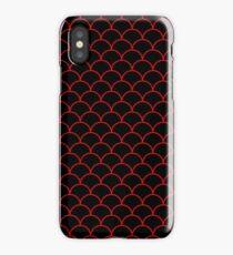 Mermaid Scales Red On Black iPhone Case
