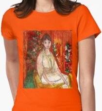 Lady In Front Of Decorated Screen Womens Fitted T-Shirt