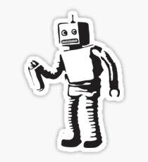 Robot Doing Graffiti Sticker