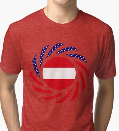 Austrian American Multinational Patriot Flag Series Tri-blend T-Shirt