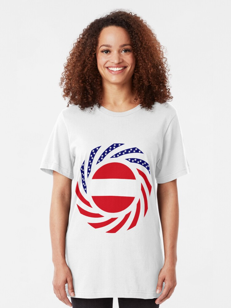 Alternate view of Austrian American Multinational Patriot Flag Series Slim Fit T-Shirt