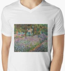 Claude Monet - Irises In Monet S Garden 03 Mens V-Neck T-Shirt