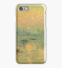 Claude Monet - Sun Setting Over The Seine At Lavacourt. Winter Effect 1880 iPhone Case/Skin