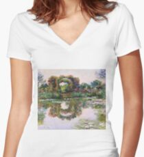 Claude Monet - Rose Flowered Arches At Giverny, 1913 Women's Fitted V-Neck T-Shirt
