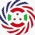Burundi American Multinational Patriot Flag Series by Carbon-Fibre Media