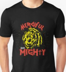 Merciful and Mighty X Lion (Psalm 136:12) on black T-Shirt