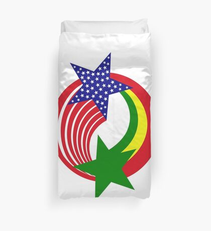 Senegalese American Multinational Patriot Flag Series Duvet Cover