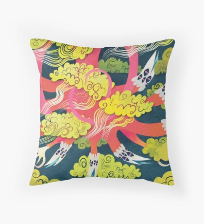 dragon in the sky Throw Pillow