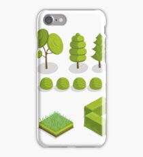 Isometric Trees, Grass and City Plants Set iPhone Case/Skin