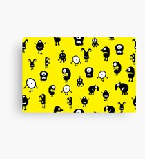 Funny and crazy cartoon monsters seamless pattern Canvas Print